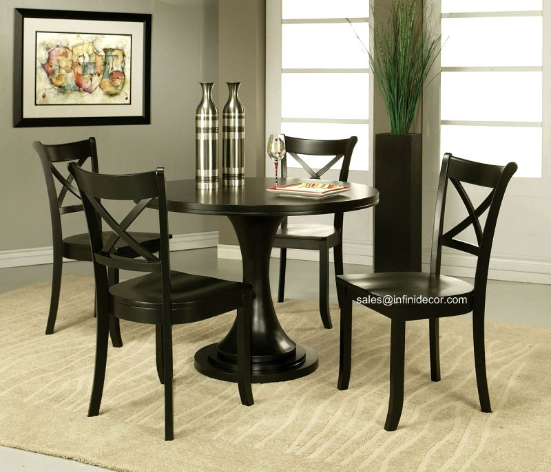 Round Kitchen Table And Chairs: 5P Modern Black Round Dining Table And Chair Set AM17165