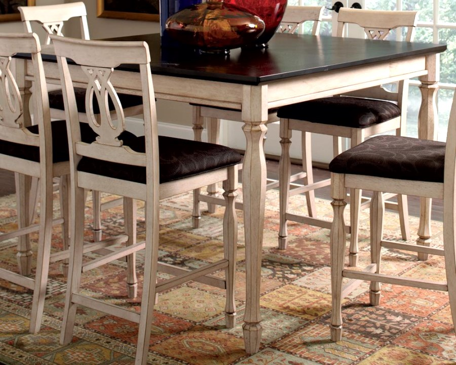 Counter Height Rustic Dining Sets : Counter Height Dining Table and Chair Set Antique White Merlot Rustic ...