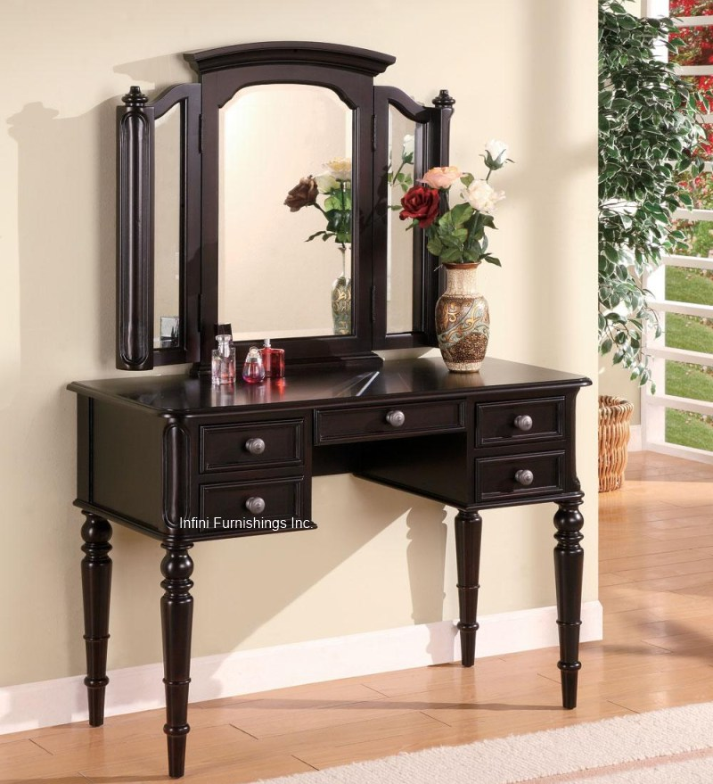 2Pcs Black Vanity Table Tri View Mirror Set Make Up Dresser Dressing Makeup