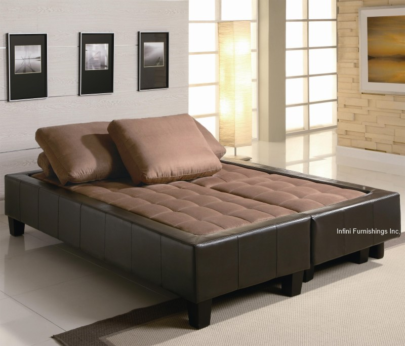 Adjustable Sofa Bed Futon Couch Faux Leather With 2