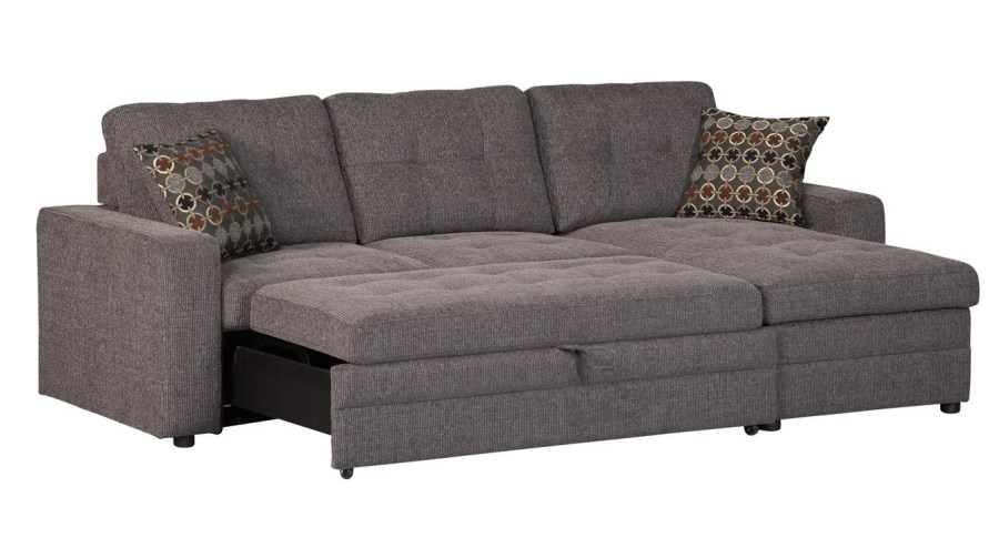 Charcoal Black Sectional Sofa Storage Chaise And Pull Out