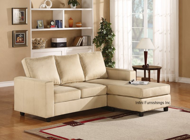 Small modern sectional microfiber couch beige or chocolate for Small beige sectional sofa
