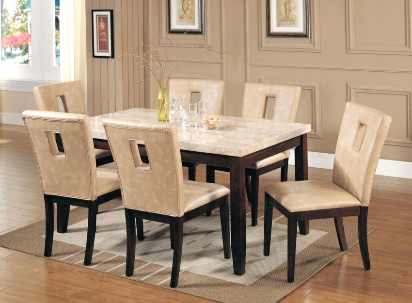 white espresso marble top dining room table and chair