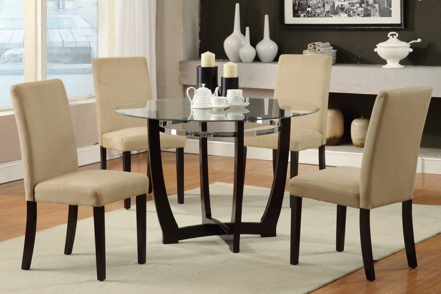 Categories. Living Room Furniture - Modern Glass Top Round Table Dining Set Parson Chair Kitchen 4