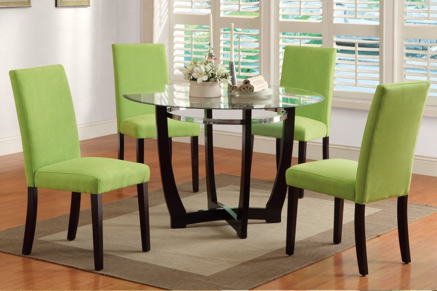 Modern Glass Top Round Table Dining Set Parson Chair Kitchen - Glass top round dining table