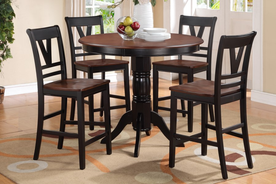 cherry dining round table and chair set counter height furniture