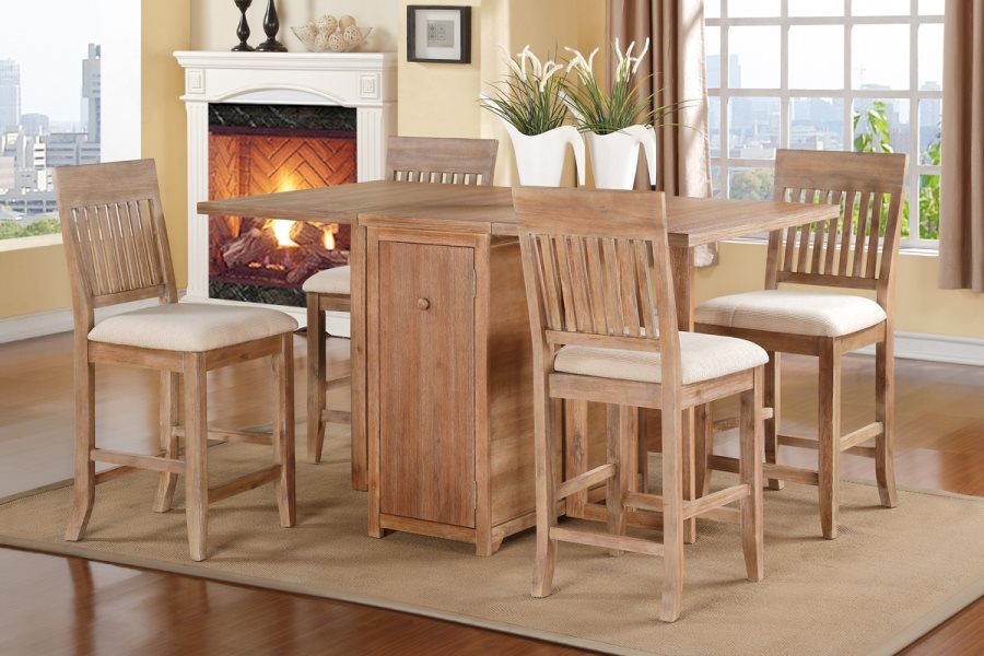 5pcs Mission Natural Oak Counter Height Dining Table And