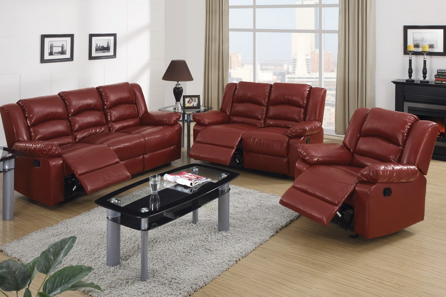 Burgundy Bonded Leather Recliner Motion Sofa Loveseat Set