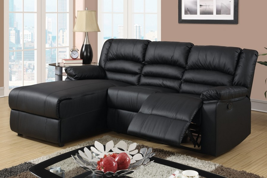 Black bonded leather recliner sectional sofa set chair for Bonded leather sectional sofa with chaise