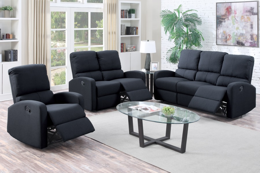 black polyfiber fabric motion sofa loveseat optional