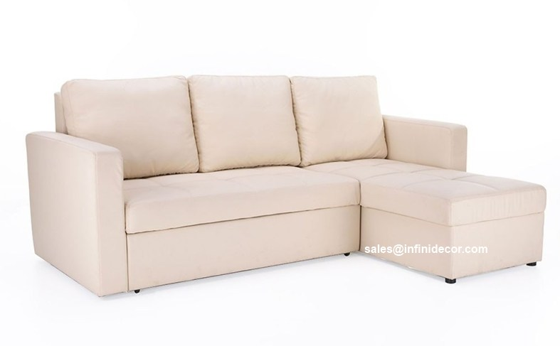 Cream Beige Off White Sectional Sofa Bed With Storage
