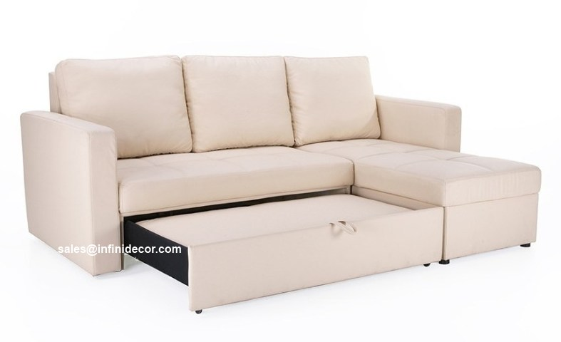Cream beige off white sectional sofa bed with storage for Sectional sofa bed with storage chaise
