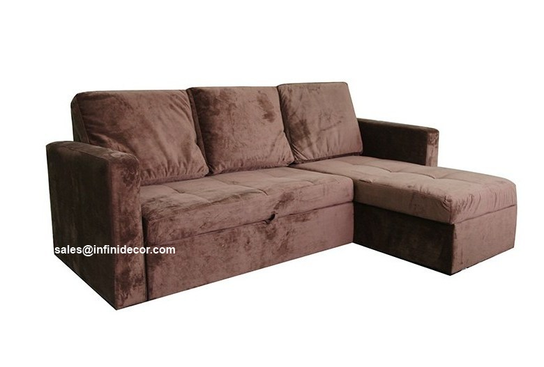 Chocolate Sectional Sofa Bed With Storage Chaise Couch