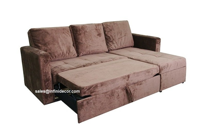 chocolate sectional sofa bed with storage chaise couch sleeper futon pull out. Black Bedroom Furniture Sets. Home Design Ideas