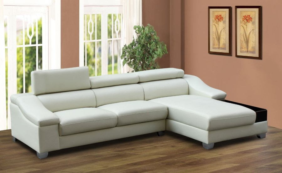 Modern Cream White Bonded Leather Sectional Sofa Couch