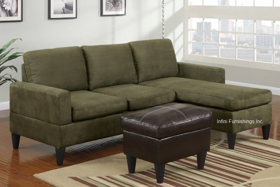 Small Sage Green Microfiber Sectional Sofa And Ottoman Set