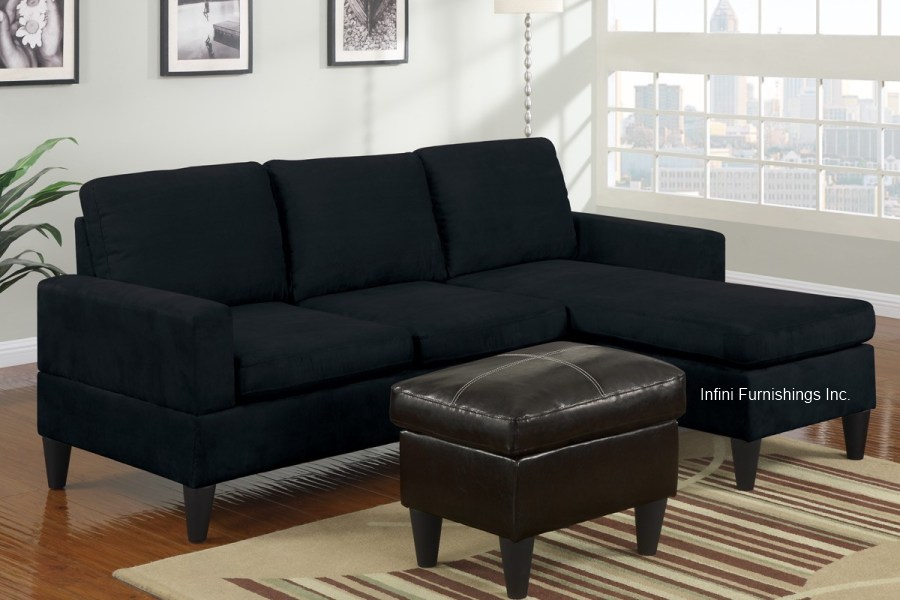 Small black microfiber sectional sofa and ottoman set for Black microfiber chaise