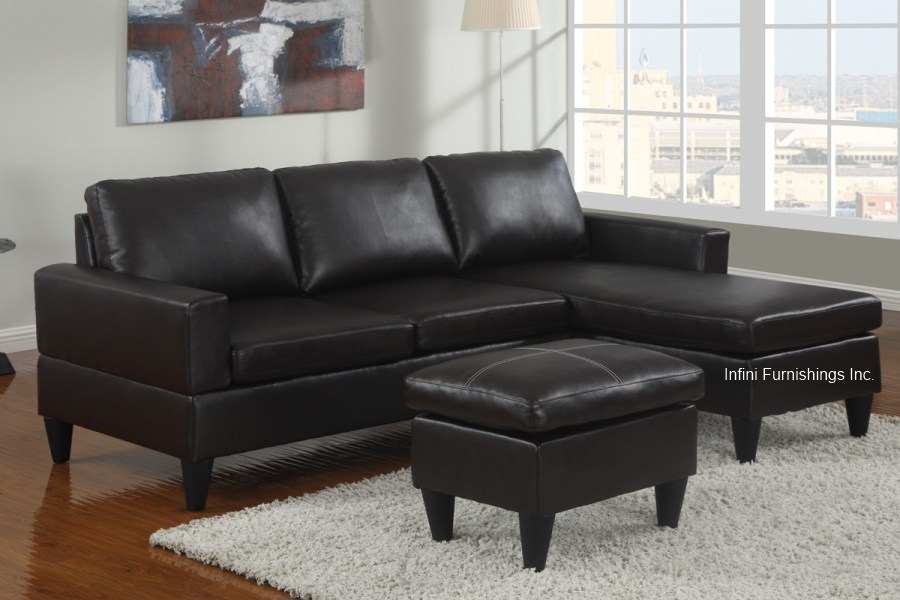 Small faux leather sectional sofa couch furniture modern for Black leather chaise sofa