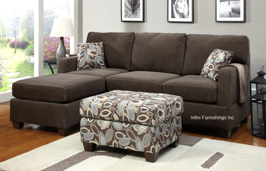 Dark Grey Chenille Microfiber Sectional Sofa With
