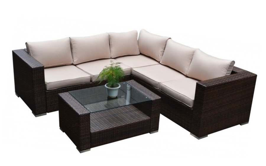 outdoor wicker patio sectional sofa coffee table set couch