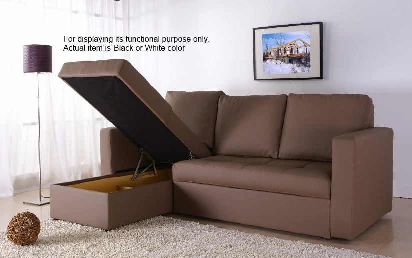 Modern Sectional Sofa Bed with Storage Chaise Couch Sleeper Futon Pull