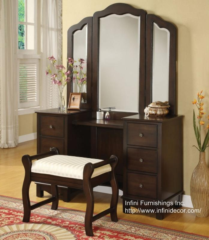 3PC Elizabeth Vanity Set - Vanity Table / Mirror / Bench Set - Bedroom