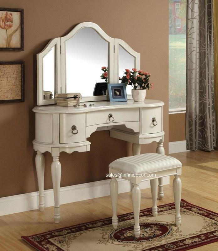 White Finish Vanity Set