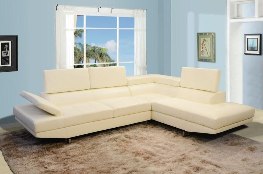 Modern Cream Ivory White Bonded Leather Sectional Sofa - Sectional Sofa