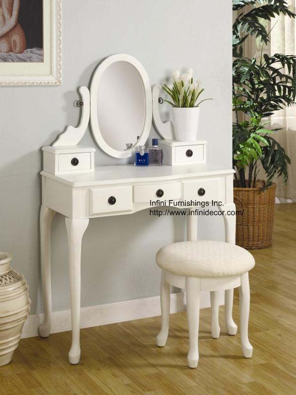 white vanity table without mirror images