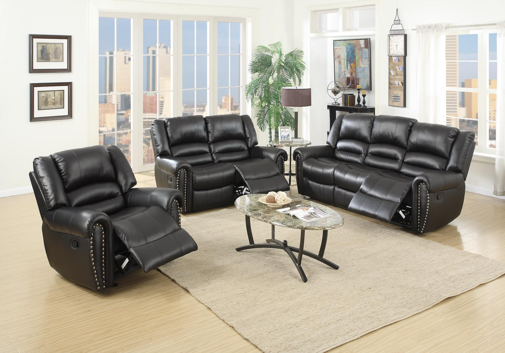Black Bonded Leather Motion Sofa and Loveseat Set