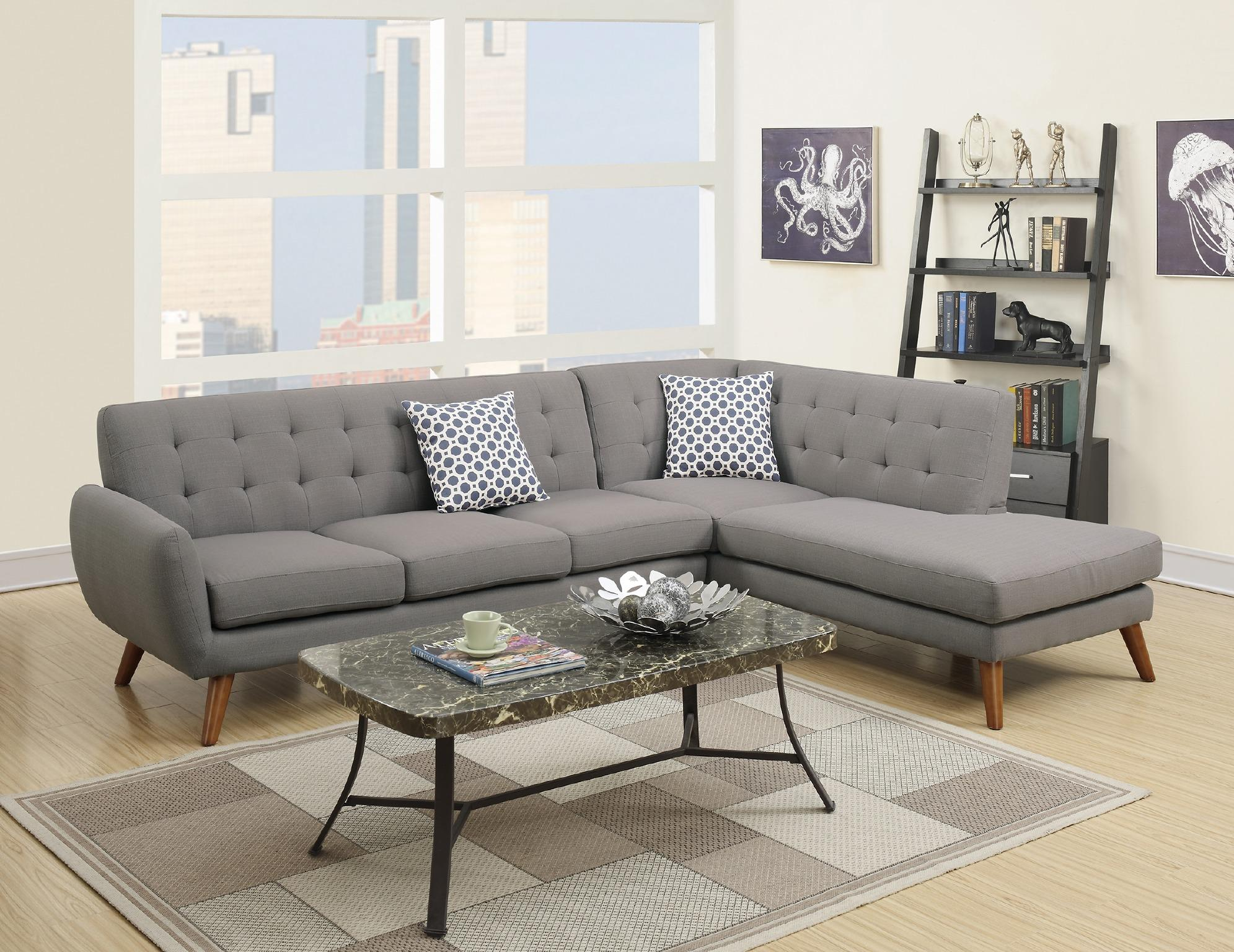 Modern Retro Sectional Sofa, Grey
