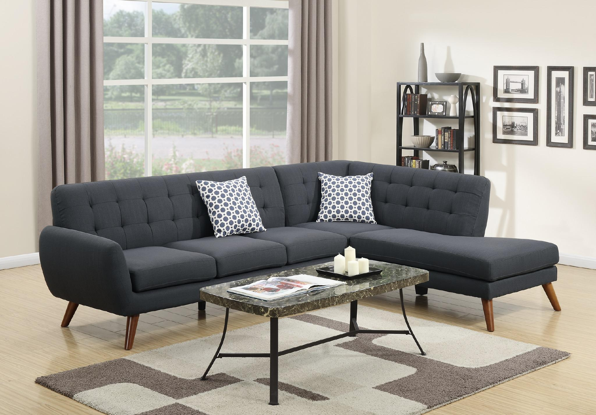 Wayfair Ifin1345 Amazon Poundex F6954 Ash Black Sectional Sofa ~ Modern Black Sectional Sofa