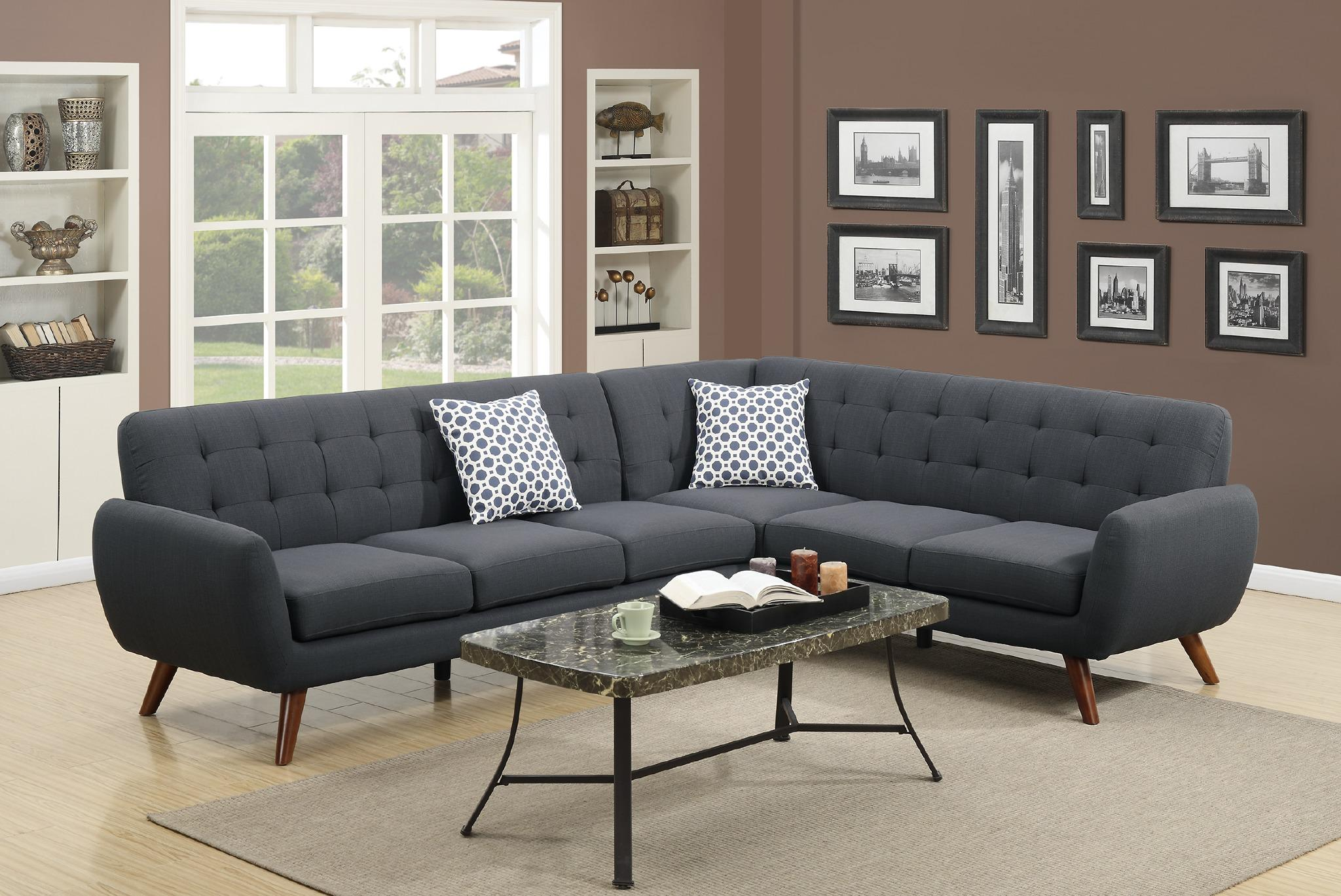 Modern Retro Sectional Sofa, Ash Black
