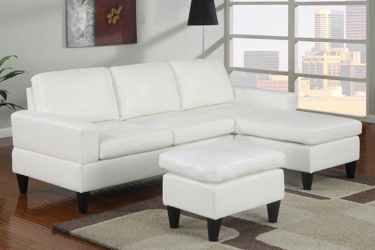 Small White Faux Leather Sectional Sofa
