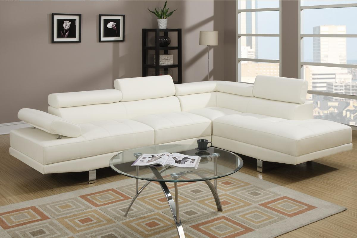 Modern Cream White Faux Leather Sectional Sofa - Living Room
