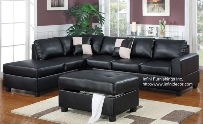 Bobkona Black Leather Sectional Sofa and Storage Ottoman Set ...