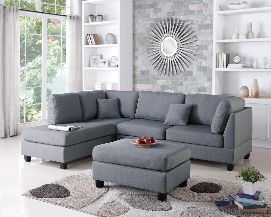 Sectional Sofa and Ottoman Set, Grey