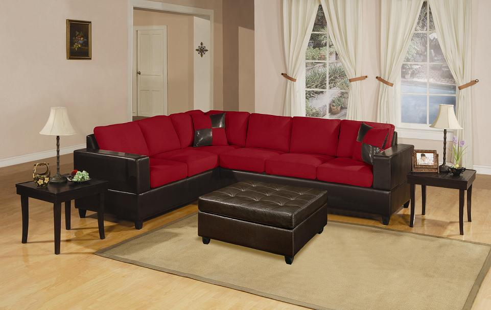 Bobkona Red Sectional Sofa Set - F7638