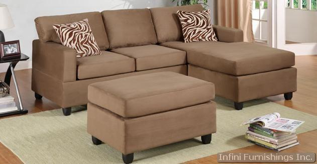 3PCS Saddle Sectional Sofa with Ottoman Set