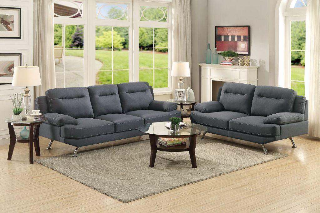 Modern Blue Grey Fabric Sofa and Loveseat