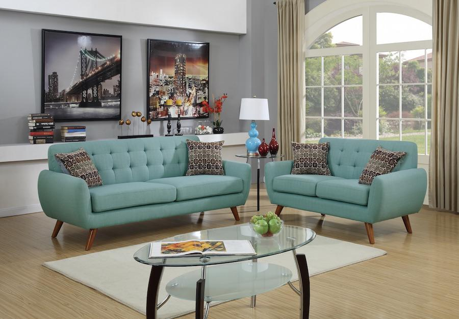 Modern Retro Sofa and Loveseat Set, Laguna