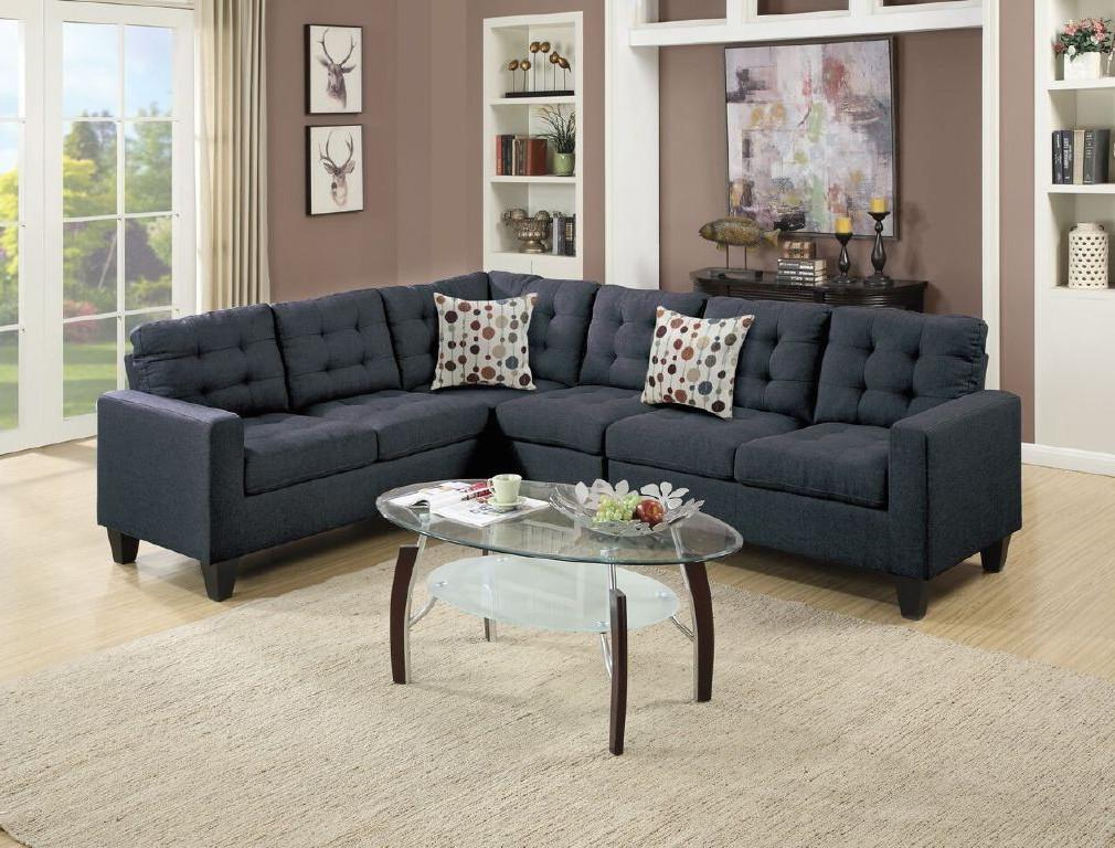 4pcs Modular Sectional Sofa, Black