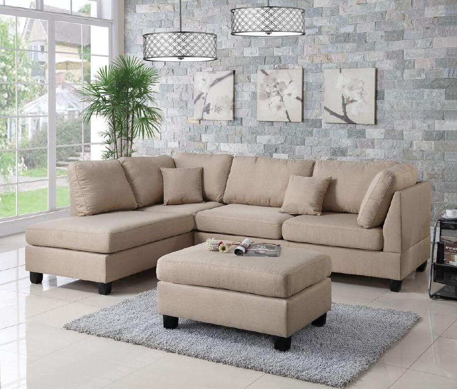 Sectional Sofa and Ottoman Set, Sand Beige