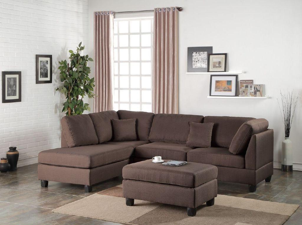Sectional Sofa and Ottoman Set, Chocolate