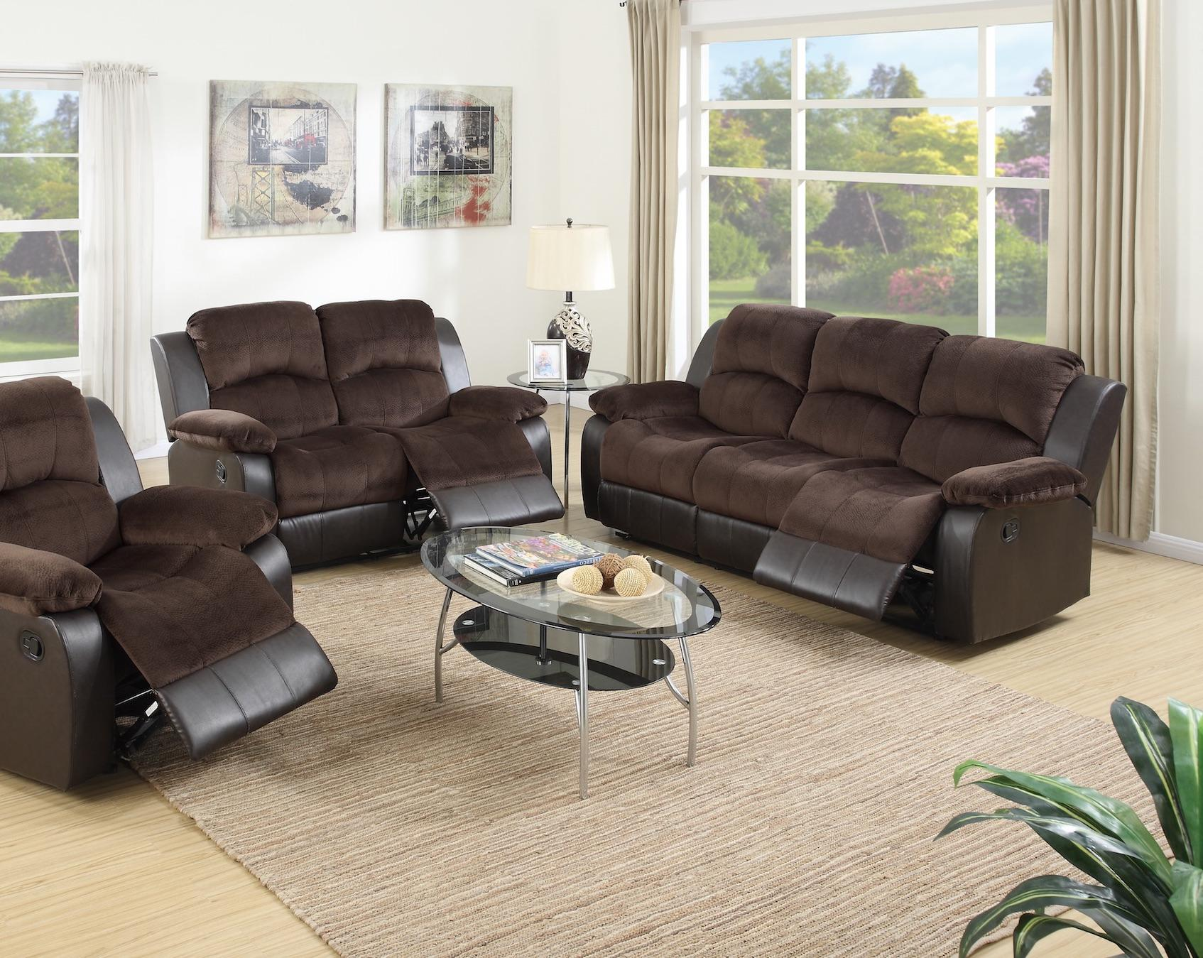 Chocolate Suede Motion Sofa and Loveseat Set
