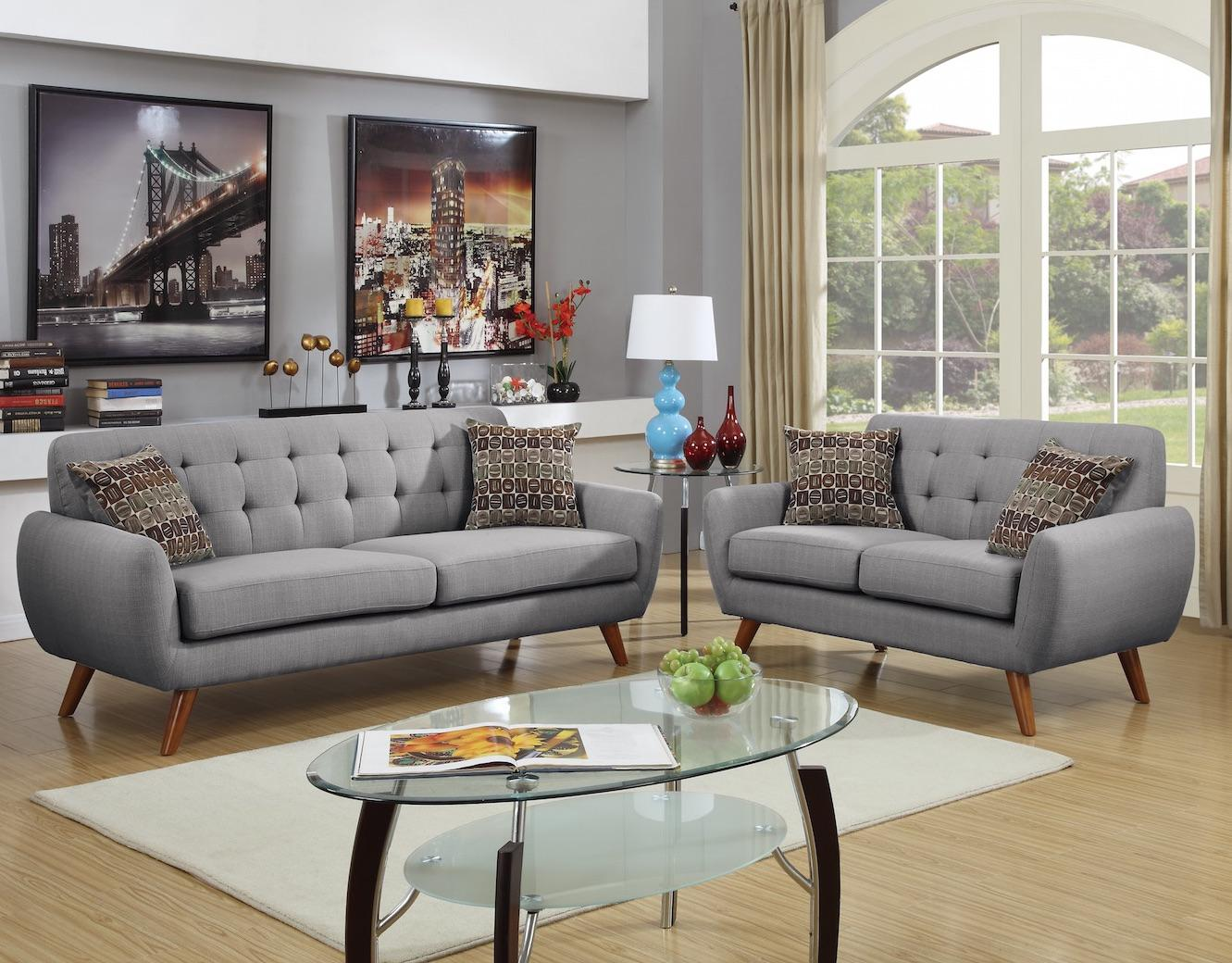 Modern Retro Sofa and Loveseat Set, Light Grey