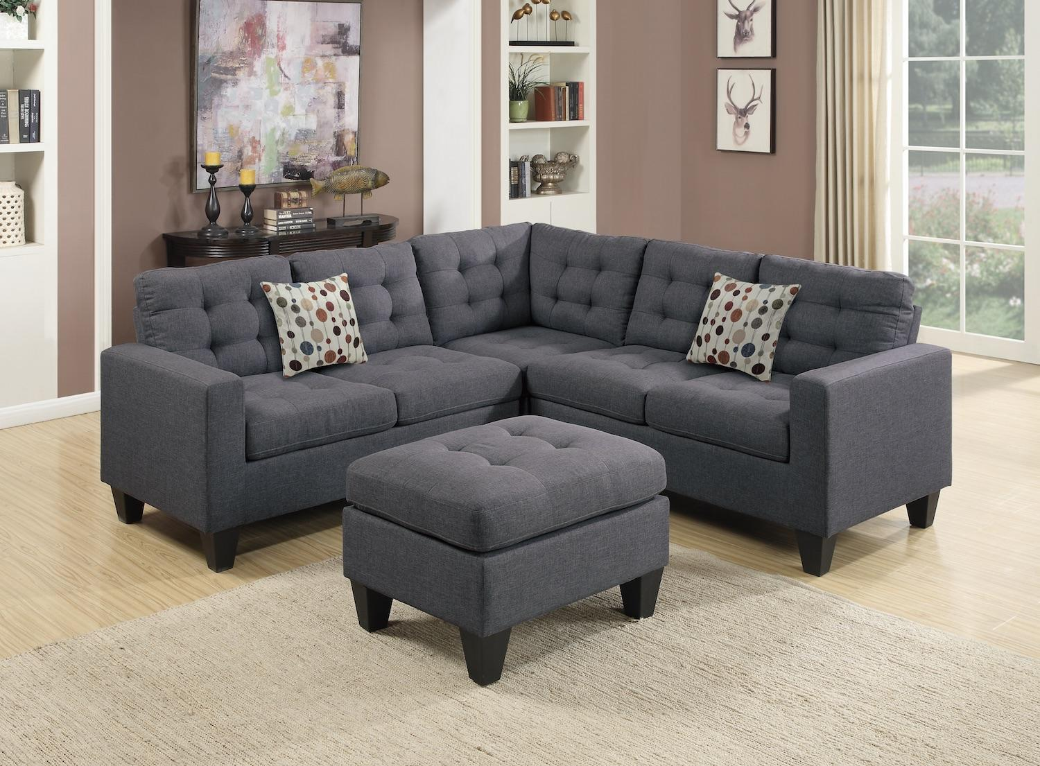 4pcs Sectional with Ottoman Set, Grey