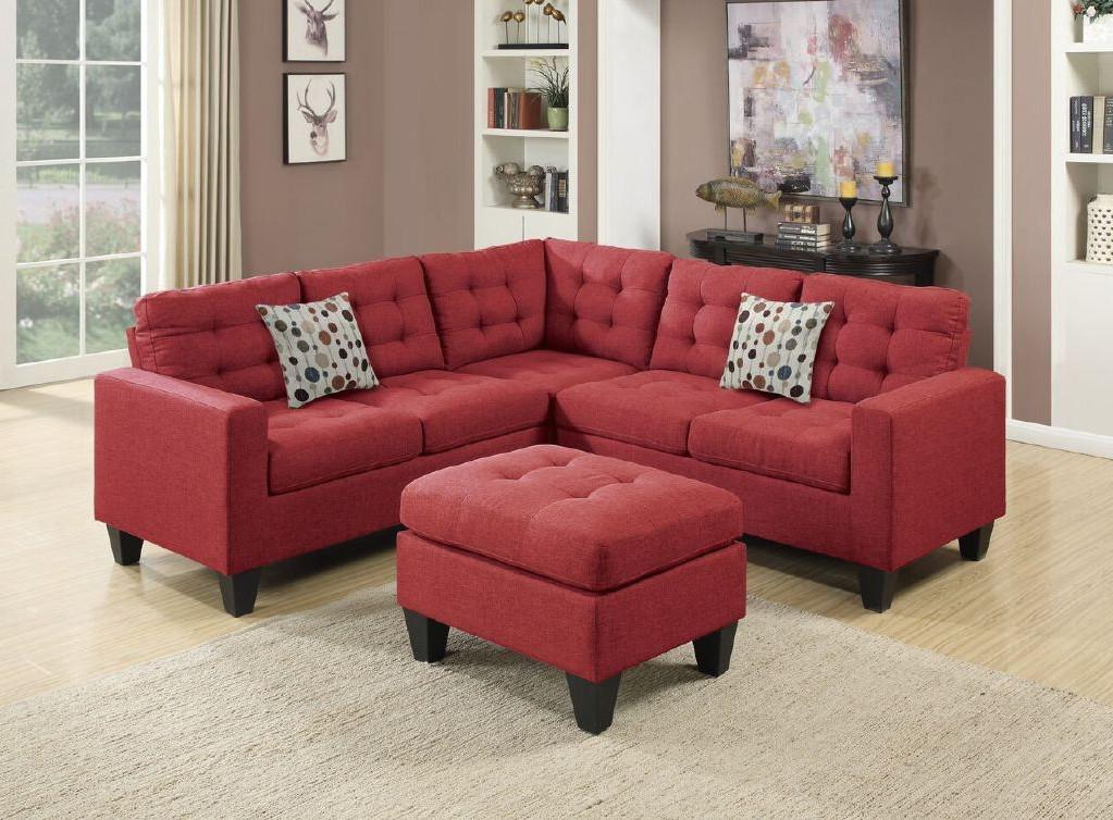 4pcs Sectional with Ottoman Set, Red