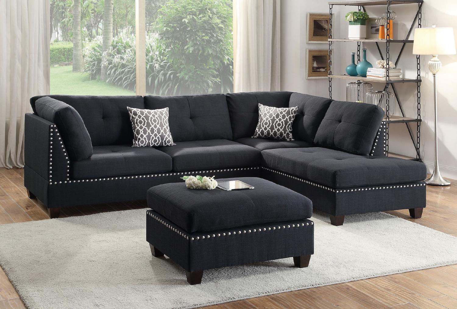 Reversible Sectional Sofa with Ottoman Set, Black