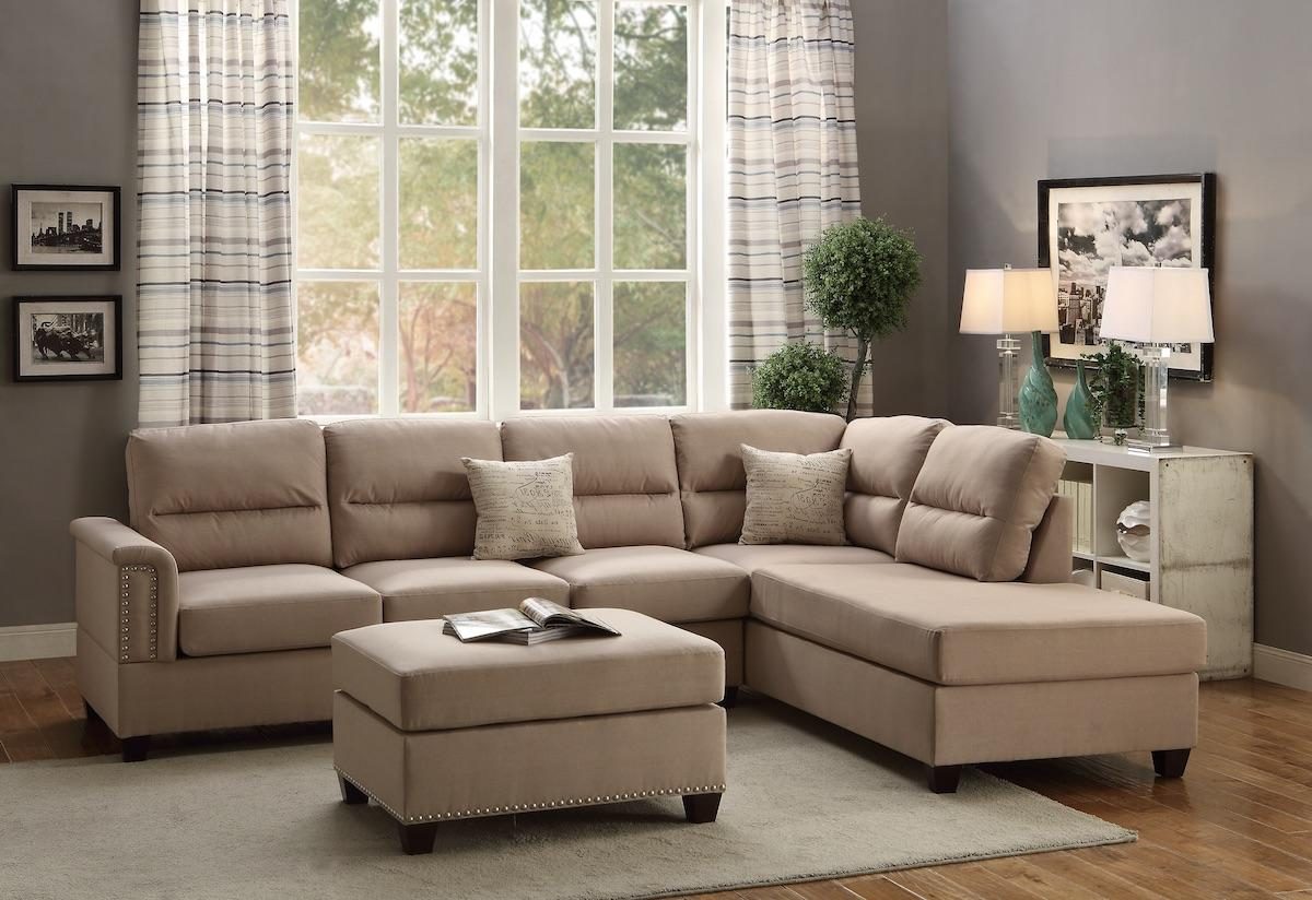 Modern Sand Beige Fabric Reversible Sectional with Ottoman Set